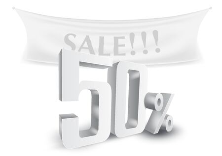 50 Percent Off Silver 3D Sale Text Discount Template. EPS10 Vector Archivio Fotografico - 149020322