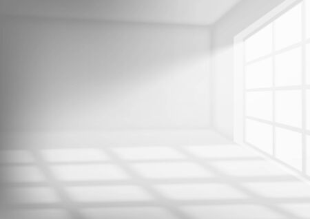 3D Room Interior With With Sunlight. EPS10 Vector Vettoriali