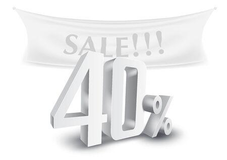 40 Percent Off Silver 3D Sale Text Discount Template. Ilustración de vector