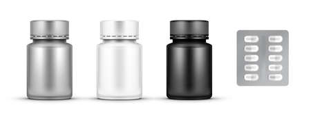 Realistic Glossy Plastic Pill Bottle Package Set.  Vector