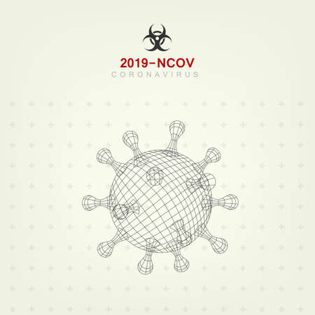 3D Outline Style Coronavirus 2019-nCoV Virus Covid Background.  Vector 向量圖像
