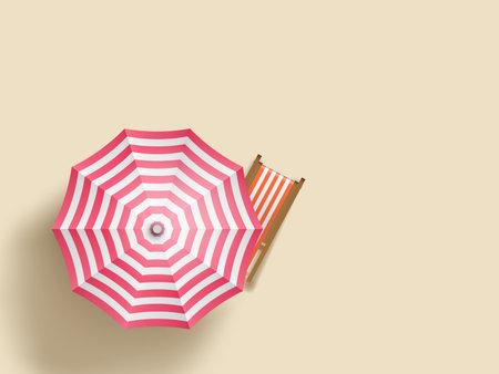 Sun Lounger Under An Umbrella On Beach. Top View