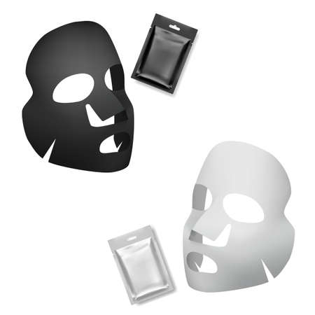 Realistic Black And White Facial Sheet Masks
