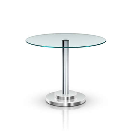 Empty Glass Round Office Table On Metal Leg Archivio Fotografico - 152531370