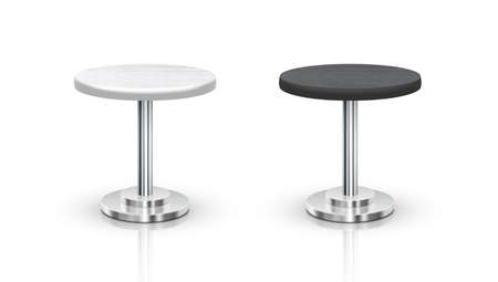 Realistic White And Black One Leg Round Tables Vettoriali