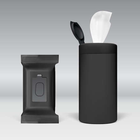 Realistic Wet Wipes Black Plastic Pack Standing