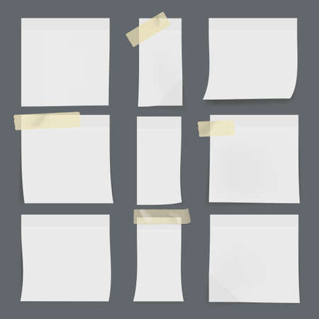 Set Of White Sticky Notes On Wall Archivio Fotografico - 152531310