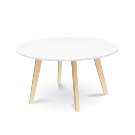 White Wooden Round Dining Table With Wooden Legs Archivio Fotografico - 152531299