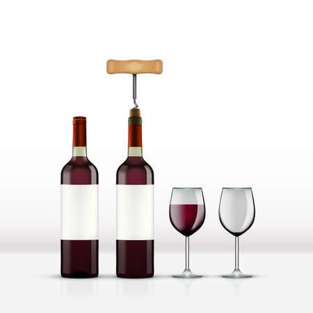 Realistic Open Red Wine Bottle With Wine Glass