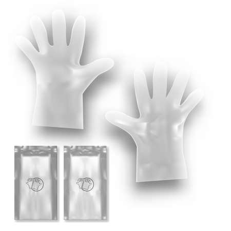 Two White Disposable Plastic Gloves With Packing