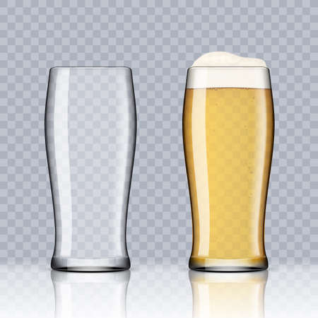 Transparent Beer Glasses. Empty And Full One