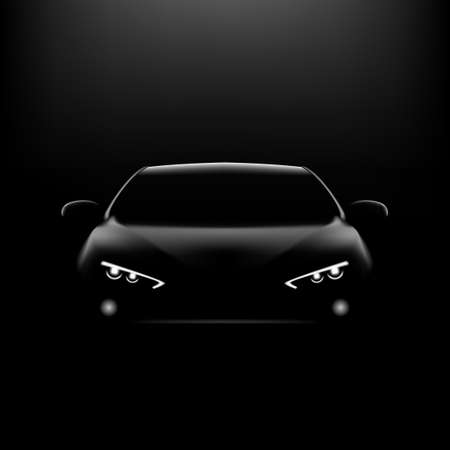 Realistic Car In The Dark. Front View