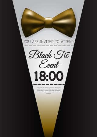 A4 Elegant Gold Tie Event Invitation Template