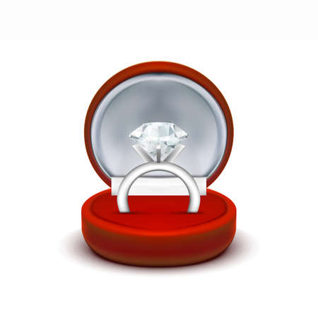 Red Velvet Jewelry Gift Box With Diamond Ring