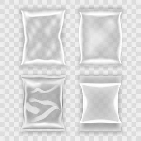 Transparent Food Snack Plastic Pillow Bags Set