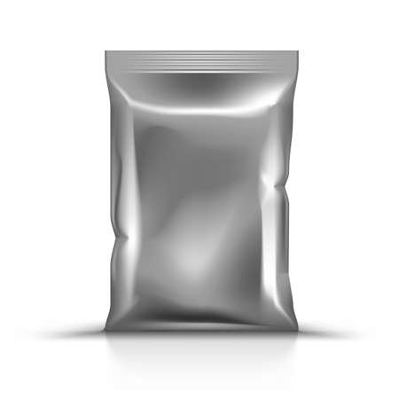 Glossy Foil Pillow Bag For Food Packaging 向量圖像