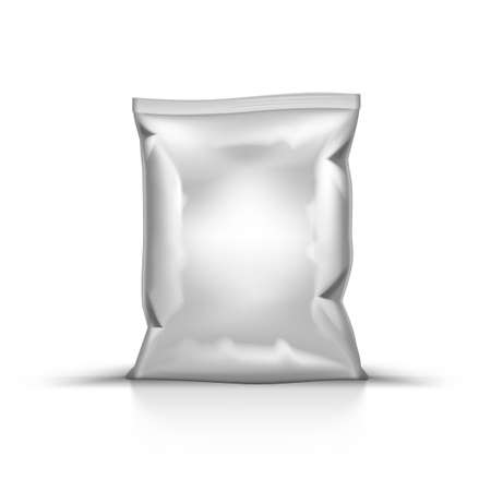 Crumpled White Foil Pillow Bag For Food Packaging