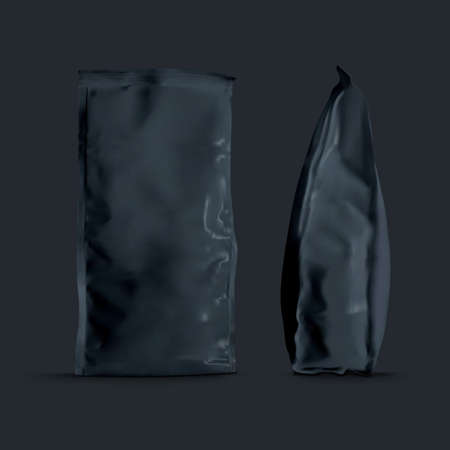 Foil Paper Folded Package For Coffee, Sugar, Flour 向量圖像