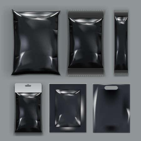 Realistic Black Empty Plastic Food Packaging Set 向量圖像