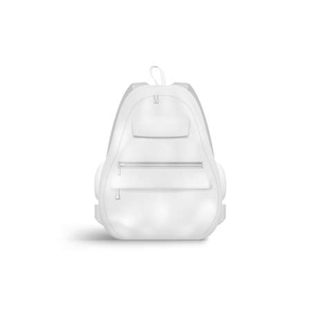 3D Blank White Closed Backpack With Zipper Ilustração