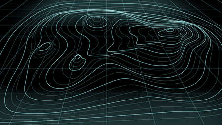 3D Abstract Topographic Map Neon Light Lines Back