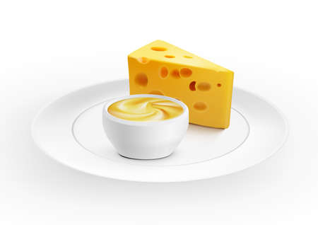 Piece Of Cheese With A Bowl Of Cheese Sauce