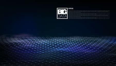 3D Hexagon Lanscape. Big Data Network Connection