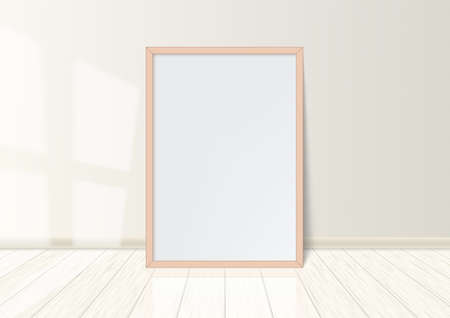 Wooden Frame With Poster Standing On White Floor