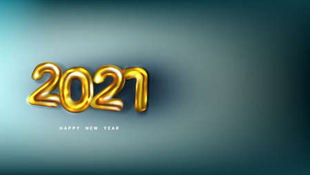 3D Happy New 2021 Year. Golden Numbers Poster