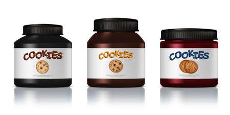 3D Packaging Design For Chocolate Cookies Set 向量圖像