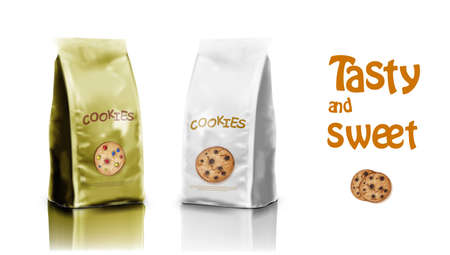 3D Brown Packaging Design For Chocolate Cookies