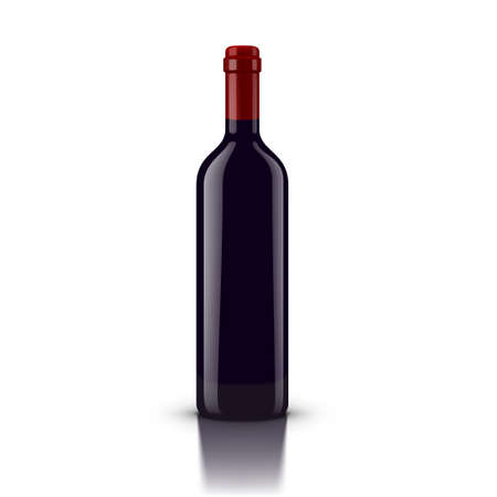 Glossy Red Wine Bottle Isolated On White