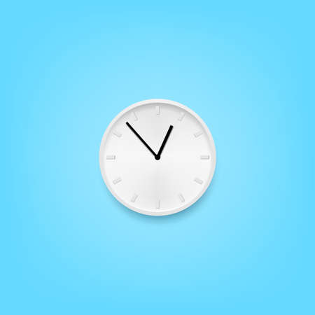 Style White Wall Clock Hanging On Blue Wall