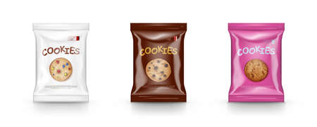 Package Design For Chocolate Cookies. Easy Recolor 向量圖像