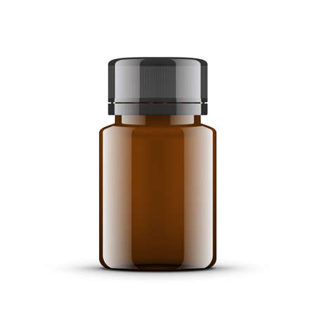 Essential Oil Brown Glass Bottle. Cosmetic Flask