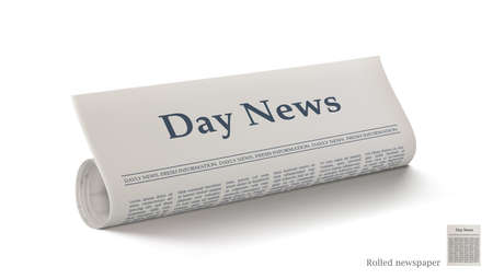 Realistic Rolled Newspaper With Big Title Day News 向量圖像