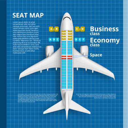 Airplane Seat Map Business Or Economy Class Card