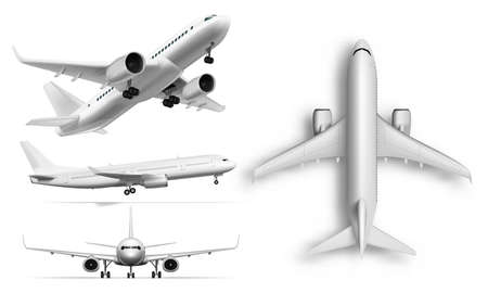 3D Flying Airplane, Jet Aircraft. Top, Front, Side