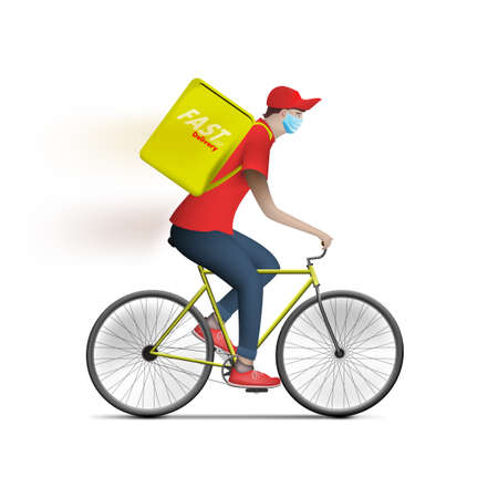 Bicycle Food Delivery Courier Man With Box 向量圖像