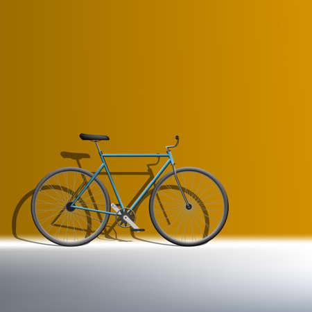 3D Bike Near Orange Wall. Ecological Transport 版權商用圖片