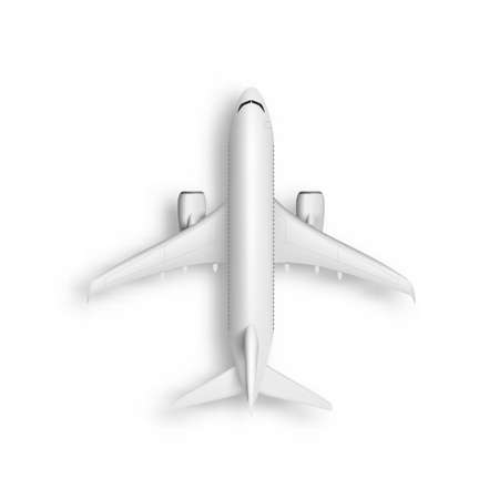 3D Abstract White Airplane Top View Isolated 向量圖像