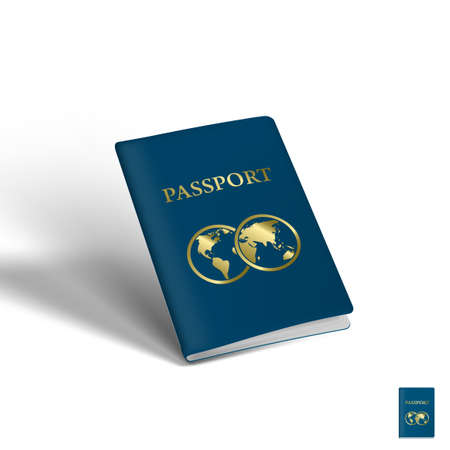 3D Passport With Two Globes. Travel Concept