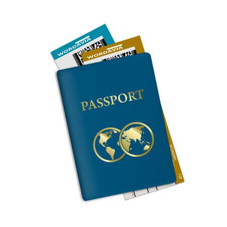 Passport With Plane Tickets. Vacation ID Document 向量圖像