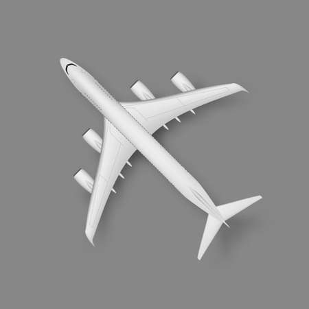 3D Top View Wite Plane With Shadow 向量圖像