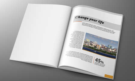 3D Magazine Design Concept. Clean White Page
