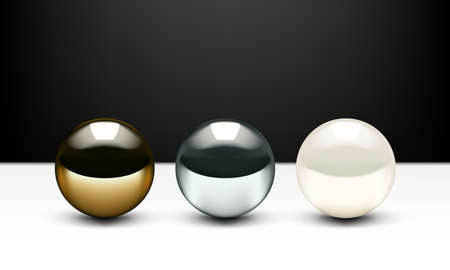 Realistic 3D Golden, Chrome Ball And Shiny Pearl Isolated On White Background.  Vector