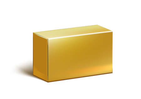 Realistic Clear Gold Blank Cardboard Package Box For Branding.  Vector 向量圖像