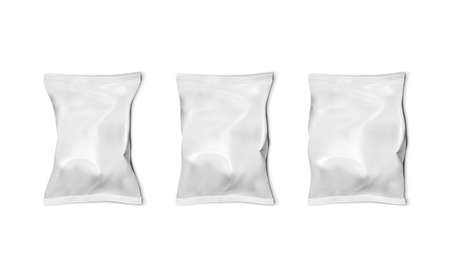 Three Food Snack Pillow Bag Thin, Normal And Thick On White Background.  Vector