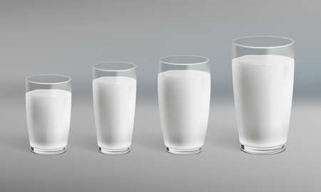 Realistic Milk In A Glass With Shadow Set.  Vector