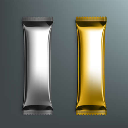 Food Silver And Golden Foil Package For Sugar, Instant Coffee Set.  Vector